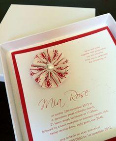 Fabric flower and pearl beautiful christening invitation, Gaia Creative Shop