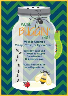 bug themed birthday party for boy   love how the invitation turned out! It is another custom order ...