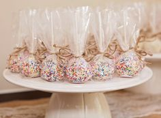 Wedding cake pops with colorful sprinkles at Christan's beautiful wedding this past weekend! #cupcakedownsouth #charlestonsc #weddingcupcakes #cakepops