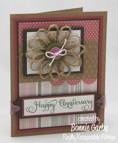 burlap flower cards, craft, ribbon rambl, ribbons, burlap ribbon flower tutorial, reason ribbon, flowers, scrapbook, loopi flower