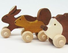 Who doesn't love handmade, wooden toys, especially when they are made from sustainable harvested wood and polished with a homemade, natural concoction of oils?