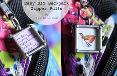 Easy DIY Backpack Zipper Pulls - or for any zipper!
