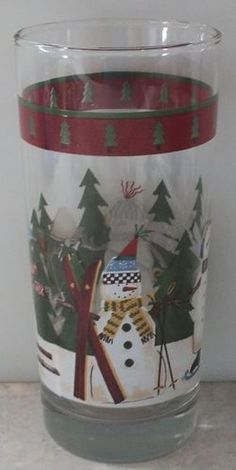 NORTH COUNTRY SNOWMEN GLASS Debbie Mumm Zak Anchor Hocking Christmas Holiday