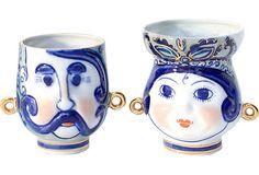 Russian Porcelain Mugs, Pair