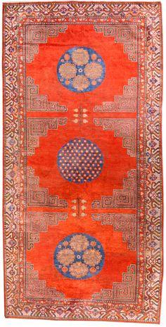 Antique silk Samarkand (Khotan) rug
