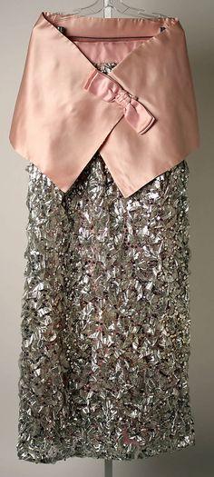 Pink satin and silver metallic evening dress by Sarmi, American, 1966.