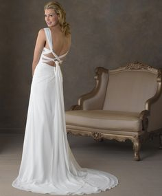Sweetheart neckline front with low back crisscross back 052 -Bonny Bridal