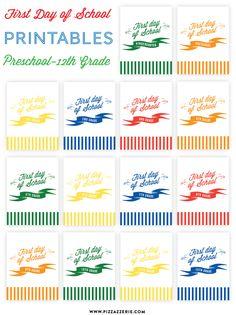 {FREEBIE} First Day of School Printables - Preschool through 12th Grade!