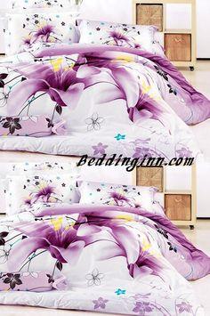 #lily #cotton Stunning Purple Tulip Print 4-Piece Cotton Duvet Cover Sets  Live a better life, start with @beddinginn http://www.beddinginn.com/product/Stunning-Purple-Tulip-Print-4-Piece-Cotton-Duvet-Cover-Sets-11031779.html