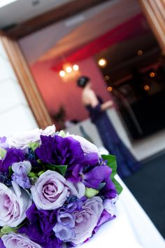 Bridal Bouquet of Roses, Freesia, Orchids, Lavender and Lisianthus (also available in Autumn)