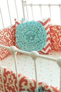 Coral crib bedding-  Coral Aqua Damask Ruffles via Etsy. LOVE!