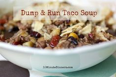 This quick and easy Dump & Run Taco Soup recipe whips together in less than ten minutes, and is sure to win rave reviews from even your harshest critic.