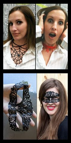 DIY Puffy Paint Halloween Crafts. Top Photo: Puffy Paint Blood and Spiderweb Necklace Tutorials from I Love to Create here. Bottom Photo: DIY Puffy Paint Masquerade Mask Tutorial and Template from Sprinkles in Springs here.She has come up with more mask designs using different colors and glitter puffy paint.