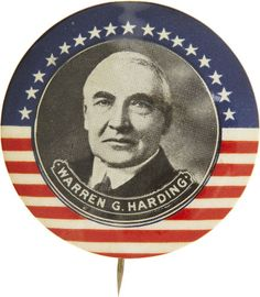 "Rare 1 3/4"" Warren Harding button, 1920"