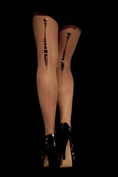 EXCLUSSIVE Hand Printed Tights  Charleston Black on by galstern, $39.00