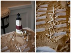 Beach Wedding  Table Assignments in the Sand :)