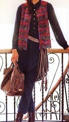 Crochet Sweater: Crochet Chaleco esquema - Elegante y fácil chaleco para las mujeres