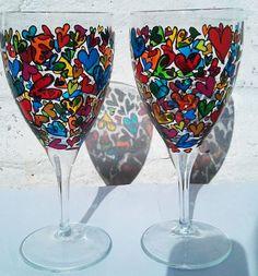 glasses, parties, color heart, wine glass, paints, decor wine, crafti time, heart designs, glass paint