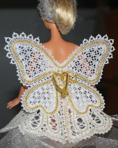 Advanced Embroidery Designs. Battenberg lace fairy wings for Barbie dolls. Instructions on how to embroider the machine design.