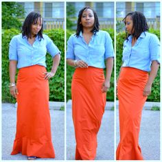 Orange maxi skirt thrifted at @Louisa Goodwill Industries International