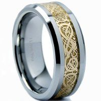 Luxury Mens Band Ring - Tungsten 8mm - Engraved I Love You - Uk Size V from The Bling King