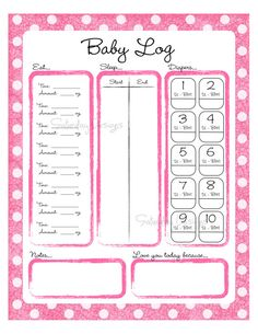 Printable Daily Logs for Baby  Put this print in an 8x10 frame, hang in the nursery, and use a dry erase marker to record your baby's daily activity. This is great for busy (and sleepy!) parents and makes a wonderful and unique baby shower gift. This is also a wonderful tool for baby-sitters to use - return home and see when the last time your baby was fed, slept, etc.