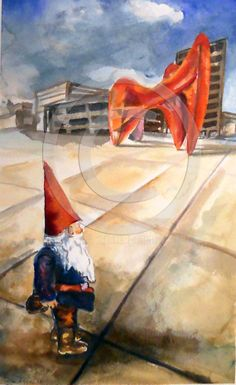 Calder Gnome in Gramd Rapids, Michigan. Hallie LeBlanc Studio Etsy listing at https://www.etsy.com/listing/173084728/art-gnome-in-front-of-calder-sculpture