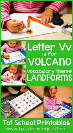 Tot School Printables Letter V is for Volcano {free} from @{1plus1plus1} Carisa #totschool
