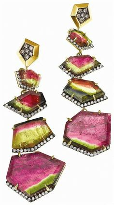 Jemma Wynne bicolor tourmaline and diamond earrings http://www.jemmawynne.com/