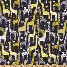 Michael Miller Giraffe Love Gray