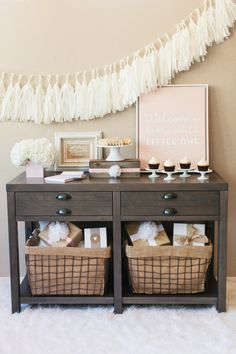 rustic baby shower pink