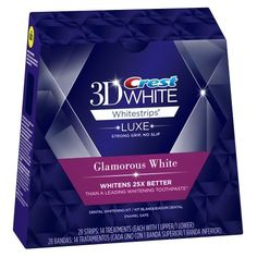 Crest 3D White Luxe Whitestrips Glamorous White - Teeth Whitening Kit 14 Treatments (Packaging may vary) (037000201793) Whitens 25X better than a leading teeth whitening toothpaste when toothpaste is used for 4 weeks Advanced Seal Technology's no slip grip stays put so you can talk and drink water while whitening teeth The strip molds to the shape of your teeth and comes off cleanly Use once a day for 30 minutes Uses the same enamel-safe teeth whitening ingredients dentists use