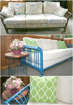 Wicker Couch Makeover- Before and After