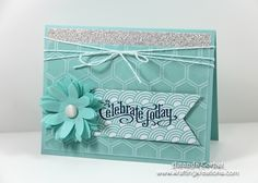 Stampin' Up! Celebrating Pool Party-Stampin' Supplies; Stamps: Perfectly Penned; CS/DSP: Sycamore Street (SAB), Silver Glimmer Paper Card Stock, Pool Party, Pool Party Core'dinations; Ink: Midnight Muse; Accessories: Pop Up Posies Designer Kit, Vanilla Shimmer Smooch Spritz, Pool Party Twine, Honeycomb Embossing Folder