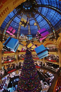 Shopping Mall in Paris decked out for Christmas