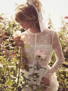 rose, julia frauch, spring summer, magazines, fashion editorials, romantic lace, porter magazin, camilla akran, elie saab