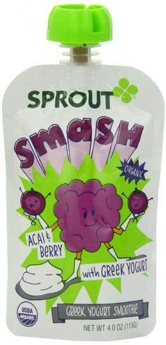 Superfruits for school lunch: Sprout Acai Berry Greek Yogurt squeeze pouch is actually fantastic.