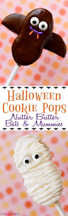 Halloween Cookie Pops ~ Nutter Butter Bats and Mummies | FiveHeartHome.com