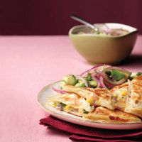 Shrimp-and-Corn Quesadillas with Avocado Salad