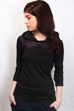 floral jersey hoodie - black - rose