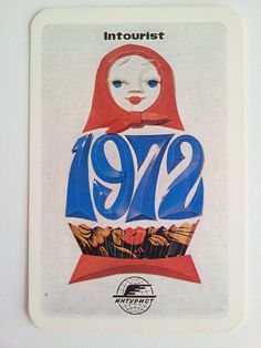 1972 Soviet pocket calendar with Matryoshka / Babushka