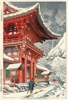 Snow at Kamigamo Shrine, Kyoto  by Takeji Asano, 1953  (published by Unsodo)