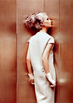 Bettina Lauer in an elegant wool dress by Donald Brooks, photo by Helmut Newton, Vogue US 1965