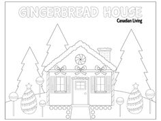 5 free holiday-themed colouring pages - Gingerbread House #Christmas #Kids #Crafts #DIY