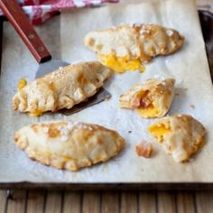 Ham and Cheese Hand Pies. Use pre-made pie crust (of course) - can be served at room temp - maybe good for lunch!
