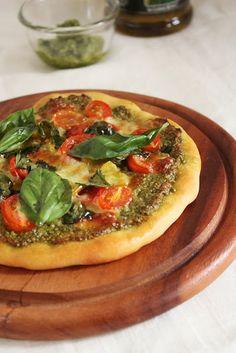 Pesto Pizza...Jamie Oliver crusty Pizza Dough