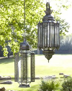 Outdoor Lanterns at Horchow.  Probably too pricing to refit, but I like them. See a theme here with my lighting choices for the bedroom?