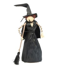 This Black Corn Husk Witch Statue #zulily