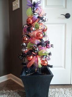 Deco Mesh Halloween Tree by DoorEnvy on Etsy, $55.00