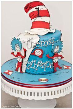 Dr Seuss Thing 1 & 2 Cake by Dream Day Cakes  |  TheCakeBlog.com